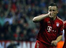 Ivica Olic, do Bayern de Munique, comemora gol durante jogo de volta das quartas-de-final da Liga dos Campeões, em Munique. 03/04/2012 REUTERS/Michaela Rehle