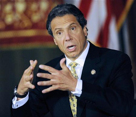 New York Governor Andrew M. Cuomo announced legislation that would make penalties for private and public possession of small amounts of marijuana the same, thereby bringing consistency and fairness to New York State's Penal Law, during a news conference in Albany, New York June 4, 2012. REUTERS/Hans Pennink