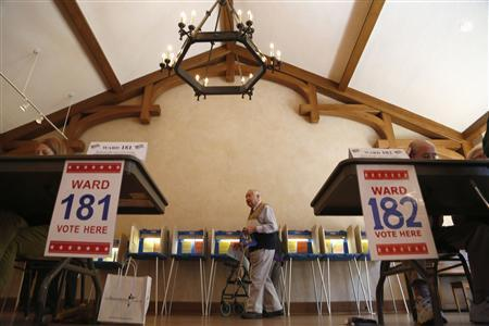 A citizen takes to the polls to cast his vote at the Charles Allis Art Museum in the recall election against Republican Wisconsin Governor Scott Walker, in Milwaukee Wisconsin June 5, 2012. REUTERS/Darren Hauck