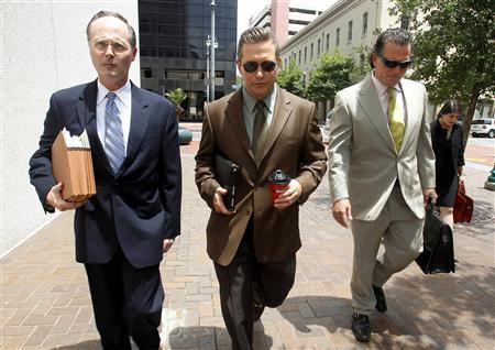 REFILE - ADDING IDENTITIES OF ATTORNEYS Actor Stephen Baldwin (C), arrives with his attorneys Timothy Madden (L) and Leo Palazzo at the New Orleans Federal Court House in New Orleans, June 4, 2012. Balwin and fellow actor Kevin Costner opened a real-life legal drama on Monday as jury selection began in a trial over Baldwin's claims that Costner cheated him out of his share of a multi-million dollar deal to sell oil extractors to British Petroleum in 2010. REUTERS/Sean Gardner