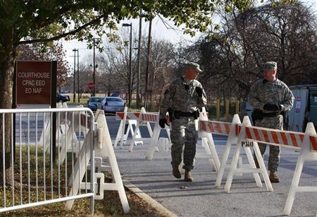 Military personnel secure the area outside the courthouse at Fort Meade, Maryland during the U.S. vs Private Bradley E. Manning Article 32 hearing December 16, 2011. REUTERS/Yuri Gripas