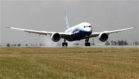 The Boeing Dreamliner 787-800 makes its first landing at the Jomo Kenyatta airport in Kenya's capital Nairobi, December 14, 2011. REUTERS/Thomas Mukoya