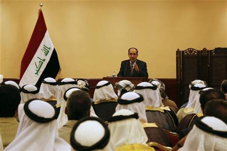 Iraq's Prime Minister Nuri al-Maliki speaks during a meeting with tribal leaders in Mosul, 390 km (240 miles) north of Baghdad, May 29 2012. REUTERS/Khalid al-Mousuly