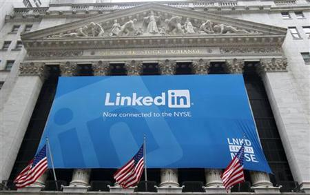 A banner announcing Linkedin Inc. listing on the New York Stock Exchange hangs on the face of the building in New York, May 19, 2011. REUTERS/Mike Segar