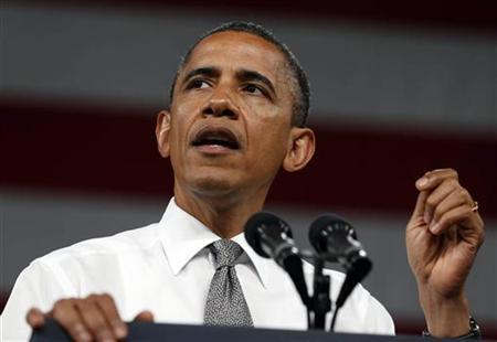U.S. President Barack Obama speaks about college affordability while on the University of Nevada Las Vegas campus in Las Vegas, June 7, 2012. REUTERS/Larry Downing