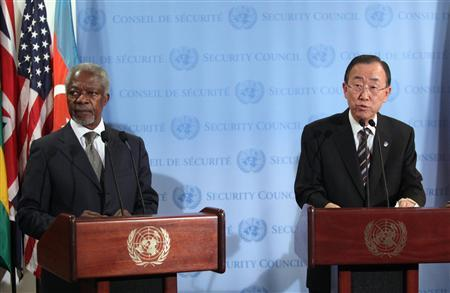 U.N.-Arab League special envoy Kofi Annan (L) and United Nations Secretary-General Ban Ki-moon speak with the media after Security Council consultations at U.N. headquarters in New York June 7, 2012. REUTERS/Allison Joyce