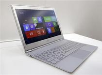 An Acer 11-inch ultrabook Aspire S7 with Microsoft Windows 8 operation system is displayed during a news conference as part of the preview of the 2012 Computex exhibition at the Taipei International Convention Center in Taipei June 4, 2012. REUTERS/Pichi Chuang