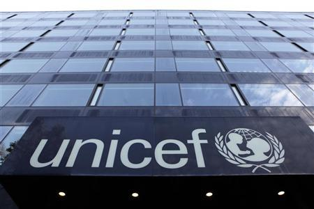 The UNICEF logo is pictured on a building in Geneva November 17, 2009. REUTERS/Denis Balibouse