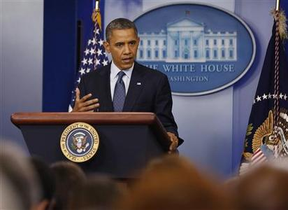 U.S. President Barack Obama speaks to the press about the economy in the White House Press Briefing Room in Washington, June 8, 2012. REUTERS/Larry Downing