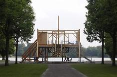 "The artwork ""Scaffold, 2012"" by artist Sam Durant is seen at the dOCUMENTA (13) art exhibition in Kassel June 6, 2012. REUTERS/Ralph Orlowski"