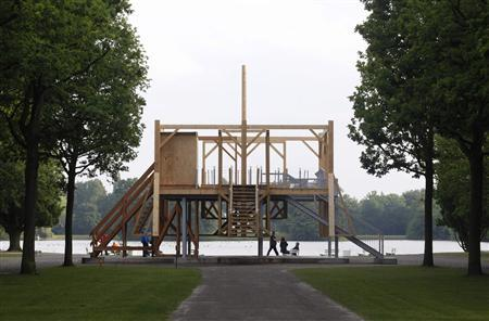 The artwork ''Scaffold, 2012'' by artist Sam Durant is seen at the dOCUMENTA (13) art exhibition in Kassel June 6, 2012. REUTERS/Ralph Orlowski
