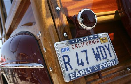 A vanity license plate is seen during the annual ''Woodies on the Wharf'' event at the wharf in Santa Cruz, California, in this June 27, 2009 file photo. The vast majority of the personalized license plate requests are not objectionable, but thousands provide insight into the boundaries of free speech. REUTERS/Robert Galbraith/Files