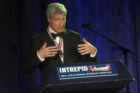Jamie Dimon, chairman and chief executive of JP Morgan Chase and Co, speaks during the Intrepid Sea, Air & Space Museum's Annual Salute to Freedom dinner in New York, May 24, 2012. REUTERS/Keith Bedford