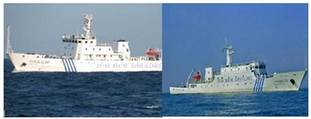 A combination photo shows two Chinese surveillance ships which sailed between a Philippine warship and eight Chinese fishing boats to prevent the arrest of any fishermen in the Scarborough Shoal, a small group of rocky formations whose sovereignty is contested by the Philippines and China, in the South China Sea, about 124 nautical miles off the main island of Luzon in this April 10, 2012 file photo. REUTERS-Philippine Navy-Handout-Files