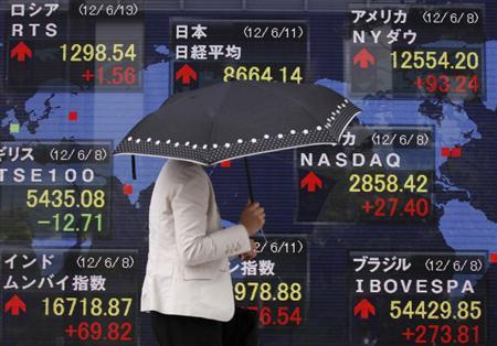 A woman passes an electronic monitor displaying Japan's Nikkei share average (top C) along with other countries' stock price indexes outside a brokerage in Tokyo June 11, 2012. REUTERS/Yuriko Nakao