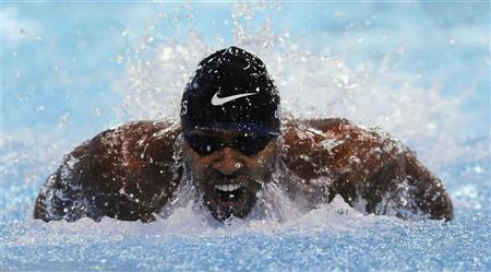 Cullen Jones of the U.S. competes in the preliminaries for the men's 100m butterfly event during the USA Swimming Grand Prix Charlotte Ultra Swim at the Mecklenburg County Aquatic Center in Charlotte, North Carolina May 11, 2012. REUTERS/Davis Turner