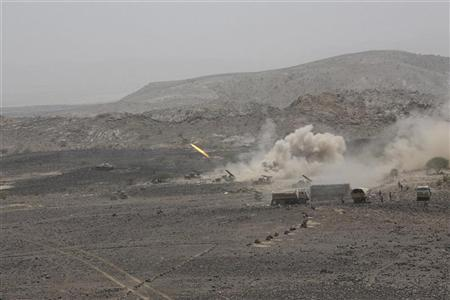 Yemeni army forces fire a missile towards positions of al Qaeda-linked militants in the southern province of Abyan June 10, 2012. REUTERS/Yemen's Defence Ministry/ Handout