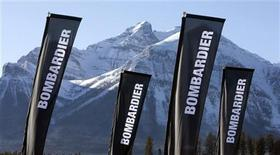 Banners for the company Bombardier are shown at a sporting event in Lake Louise, Alberta December 2, 2009. REUTERS/Andy Clark