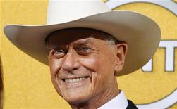 "Actor Larry Hagman from the TV series ""Dallas"" poses backstage at the 18th annual Screen Actors Guild Awards in Los Angeles, California January 29, 2012. REUTERS/Mike Blake"