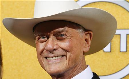 Actor Larry Hagman from the TV series ''Dallas'' poses backstage at the 18th annual Screen Actors Guild Awards in Los Angeles, California January 29, 2012. REUTERS/Mike Blake