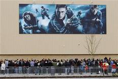 Fans wait to see actors from the Harry Potter films at the opening of the Warner Brothers Studio Tour- The Making of Harry Potter near Watford north London March 31, 2012. REUTERS/Luke MacGregor