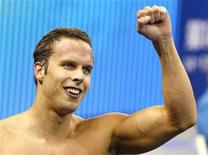 Alexander Dale Oen of Norway reacts after winning the men's 100m breaststroke final at the 14th FINA World Championships in Shanghai July 25, 2011. REUTERS/Christinne Muschi