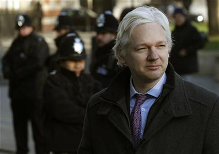 Wikileaks founder Julian Assange arrives at the Supreme Court in Westminster, on the second day of his extradition appeal, in central London, February 2, 2012. REUTERS/Andrew Winning
