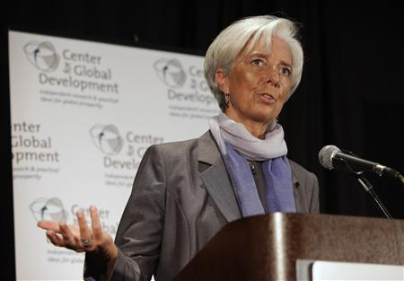 International Monetary Fund (IMF) Managing Director Christine Lagarde delivers remarks at a Center for Global Development (CGD) discussion on Back to Rio, the Road to a Sustainable Economic Future, in Washington June 12, 2012. REUTERS/Yuri Gripas