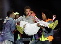 Canadian singer Justin Bieber performs at a free open-air concert at Zocalo Square in Mexico City June 11, 2012. REUTERS/Henry Romero