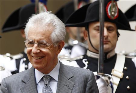Italy's Prime Minister Mario Monti (L) looks on before a meeting with Switzerland's President Eveline Widmer-Schlumpf (not pictured) at the Chigi palace in Rome June 12, 2012. REUTERS/Max Rossi