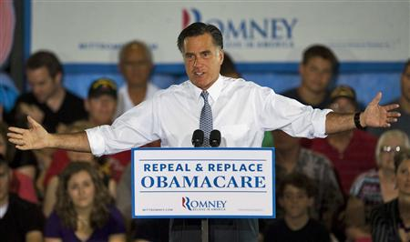 Republican presidential candidate and former Massachusetts governor Mitt Romney addresses supporters during a campaign rally at Con-Air Industries Inc., in Orlando, Florida, June 12, 2012. REUTERS/Steve Nesius