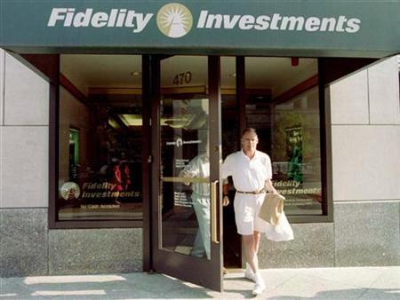 Customers leave a sales office of Fidelity Investments in Boston, August 27.