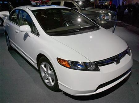 The 2006 Honda Civic Which Was Named North American Car Of Year Is Displayed At A Media Preview International Auto Show In