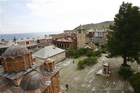 A general view of the Vatopedi monastery is seen at Mount Athos, May 27, 2012. REUTERS/Grigoris Siamidis