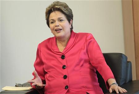 Brazil's President Dilma Rousseff attends a meeting with King Juan Carlos I of Spain at the Planalto Palace in Brasilia June 4, 2012. REUTERS/Ueslei Marcelino