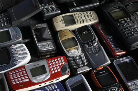 A collection of mobile phones made by Nokia is pictured in this photo illustration taken in Warsaw May 8, 2012. REUTERS/Kacper Pempel