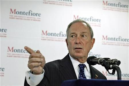 New York City Mayor Michael Bloomberg speaks to the media during a news conference about Highlight Health Impacts of Obesity at the Montefiore Medical Center in New York June 5, 2012. REUTERS/Eduardo Munoz