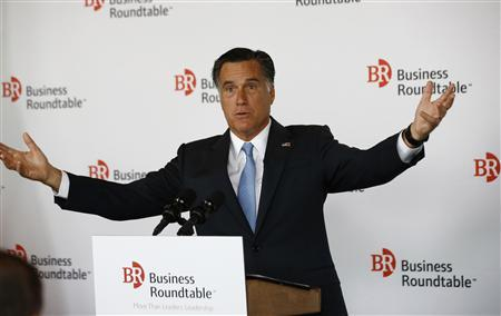 U.S. Republican Presidential candidate Mitt Romney addresses a business roundtable with company leaders in Washington June 13, 2012. REUTERS/Jason Reed