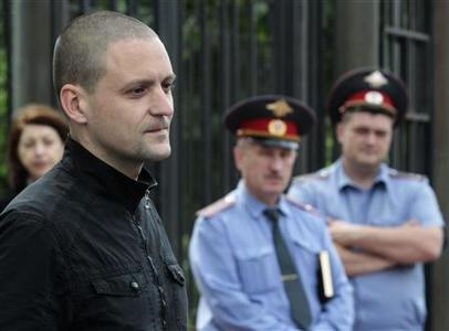 Russian opposition leader Sergei Udaltsov arrives for questioning at the Federal Investigation Commission building in Moscow June 13, 2012. REUTERS/Sergei Karpukhin