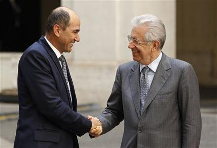 Italian Prime Minister Mario Monti (R) shakes hands with his Slovenian counterpart Janez Jansa at Chigi Palace in Rome June 12, 2012. REUTERS/ Max Rossi