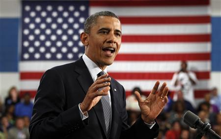U.S. President Barack Obama speaks during a campaign event at Cuyahoga Community College in Cleveland, Ohio June 14, 2012. REUTERS/Kevin Lamarque