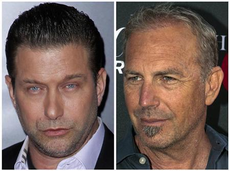 A combination photo shows actor Stephen Baldwin (L) at the premiere of the film ''Mission: Impossible - Ghost Protocol'' in New York in a December 19, 2011 file photo and actor Kevin Costner at the premiere of television series ''Hatfields and McCoys'' at Milk Studios in Los Angeles, California, in a May 21, 2012 file photo. REUTERS/Carlo Allegri (L) and Bret Hartman/Files