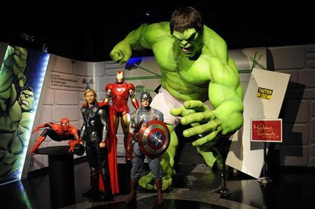 Wax figures designed to look like characters from the Marvel Entertainment film ''The Avengers'' are on display at the ''Marvel Superhero Experience'' at Madame Tussauds wax museum in New York April 26, 2012. REUTERS/Keith Bedford