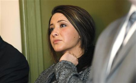 Bristol Palin watches while her mother former Alaska governor Sarah Palin delivers her keynote speech at the Reagan 100 opening banquet at the Reagan Ranch Center in Santa Barbara, California February 4, 2011. REUTERS/Mario Anzuoni