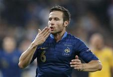 France's Yohan Cabaye celebrates after scoring a goal against Ukraine during their Group D Euro 2012 soccer match at Donbass Arena in Donetsk June 15, 2012. REUTERS/Michael Buholzer