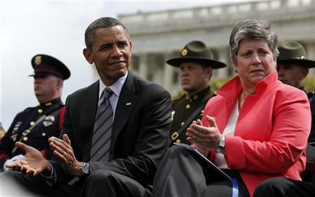 U.S. President Barack Obama sits next to U.S. Secretary of Homeland Security Janet Napolitano during the National Peace Officers Memorial Service on Capitol Hill in Washington, May 15, 2012. REUTERS/Larry Downing