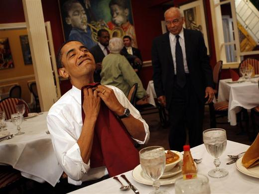 Then Senator Obama prepares to eat as he visits the Dooky Chase restaurant in New Orleans, February 7, 2008. REUTERS-Carlos Barria