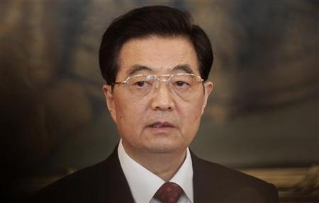 China's President Hu Jintao makes a press statement in the historic Hofburg palace in Vienna October 31, 2011. Hu arrived for an official three day visit to Austria. REUTERS/Herwig Prammer