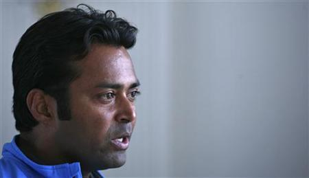 Leander Paes speaks during an interview with Reuters at the Delhi Lawn Tennis Association (DLTA) stadium in New Delhi February 5, 2012. REUTERS/Parivartan Sharma/Files