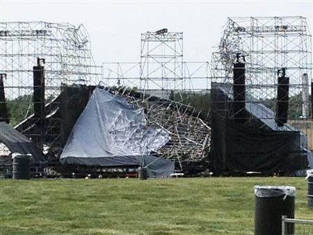 The collapsed stage at Downsview Park in Toronto is shown June 16, 2012. REUTERS/Alexandra Mihan.